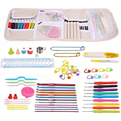 Crochet Hook Set Aluminum Hooks Needle Kit Ergonomic Handles Knitting Needles Knitting Tool Set with Storage Bag