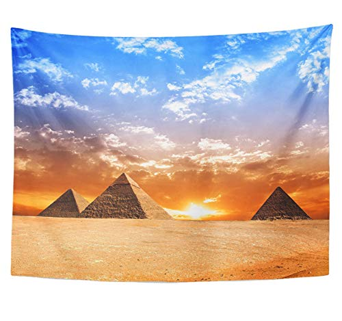 Emvency Tapestry Polyester Fabric Print Home Decor Egyptian Egypt Pyramid Historic Buildings Panorama Sunset Monument Sun Evening Wall Hanging Tapestry for Living Room Bedroom Dorm 60x80 inches