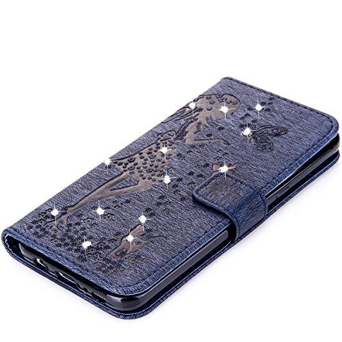 Funda Galaxy S8 Plus, Funda de brillo Galaxy S8 Plus, Lifetrut Sólido Shiny Sparkle Libro de Estilo de Cuero con Ranura para Tarjetas de Cierre Magnético Soporte Funda de Teléfono de la Función con Co E204-Armada