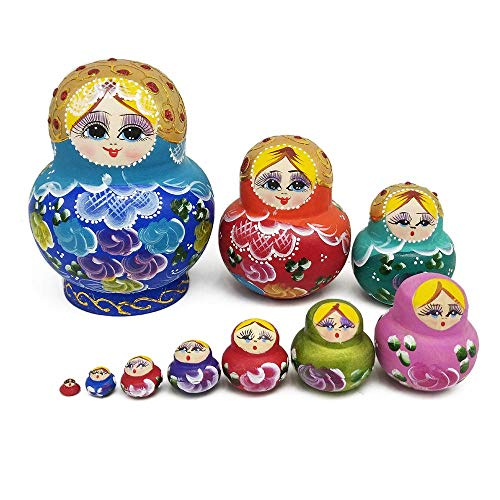 FOONEE Russian Nesting Dolls, Wooden Handmade Stacking Matryoshka Toy Multicolor A Variety of Styles Matryoshka Toys Hand Painted Doll Toy Decoration Wooden Doll Set 5-Piece/10-Piece