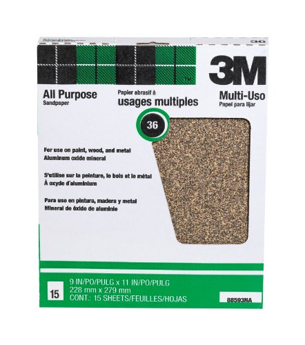 3M Pro-Pak Aluminum Oxide Sheets for Paint and Rust Removal, 9-Inch by 11-Inch (3m Tri M Ite Fre Cut Sandpaper)