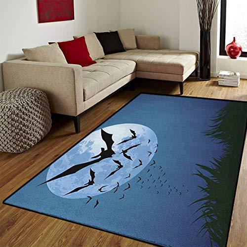 Halloween,Door Mats for Home,A Cloud of Bats Flying Through The Night with a Full Moon Fall Season,Floor mat Bath Mat for tub,Night Blue Black Grey,6x7 ft ()