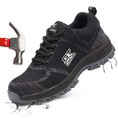 Barerun Work Steel Toe Safety Shoes for Men Women Lightweight Breathable Industrial & Construction Protect Shoe Black 14 M US Women / 10.5 M US Men
