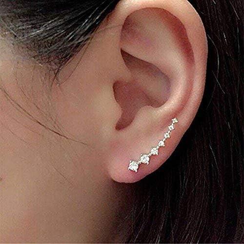 Pendientes cristalinos del Rhinestone del gancho del oído del perno prisionero de 7 Cristales abofetea aro escalador pendiente hipoalergénica para ...