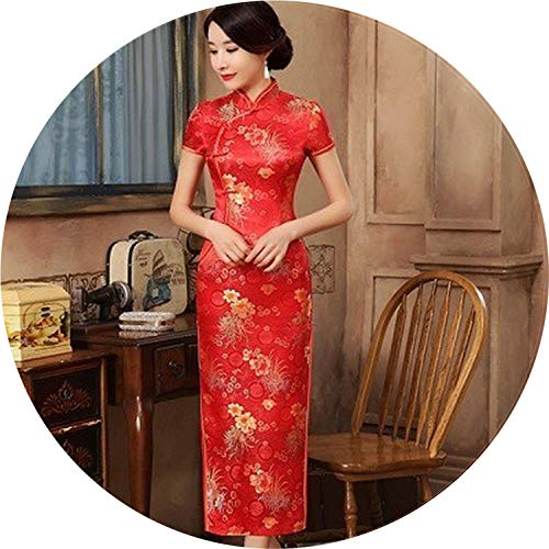 Get-in Silk Satin Long Chinese Dress Cheongsam Dress Evening Green Robe Ten Buckle Qipao,Red B,XXXL