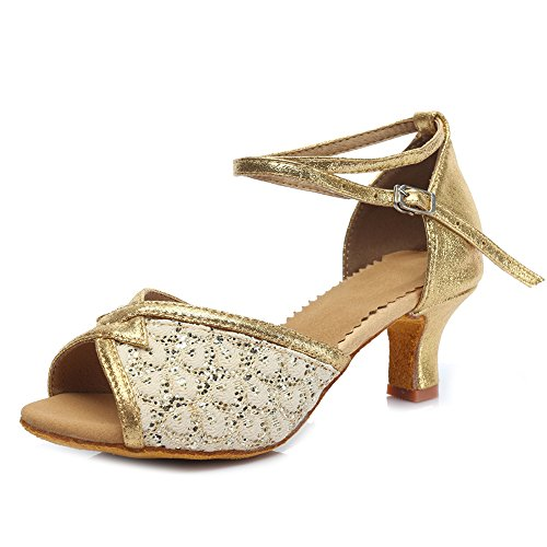 Roymall Womens Part Glitter Latinska Dansskor Mode Balsal Salsa Tango Prestanda Skor, Modell Mf1818 Guld