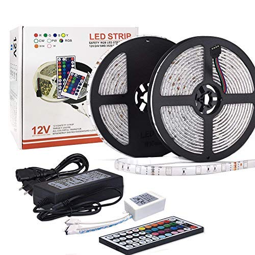 - LED Strip Light Waterproof 32.8ft 10m Flexible Color Changing RGB SMD 5050 300leds LED Strip Light Kit with 44 Keys IR Remote Controller and 12V 5A Power Supply for Home Kitchen Indoor (Multi-colored)