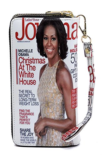 Magazine Cover Collage Double Zip Around Clutch Wallet Wristlet (MO-02)