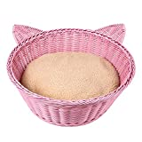 FOREYY Round Cat Bed with Soft Cushion - Poly Rattan Indoor Pets Basket Kennel Home House for Kitten - Small and Medium Cats - Easy Clean Washable(Pink)