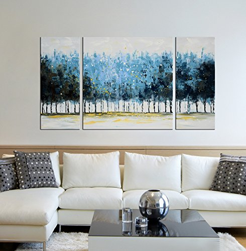 Tree Wall Art Set Hand-Painted 'Mysterious Forest' 3-Piece Large Modern Blue Gallery-Wrapped Framed Oil Painting on Canvas for Living Room Decor (20x20inchesx1 Piece, 10x20inchesx2 (Blue Framed Wall)
