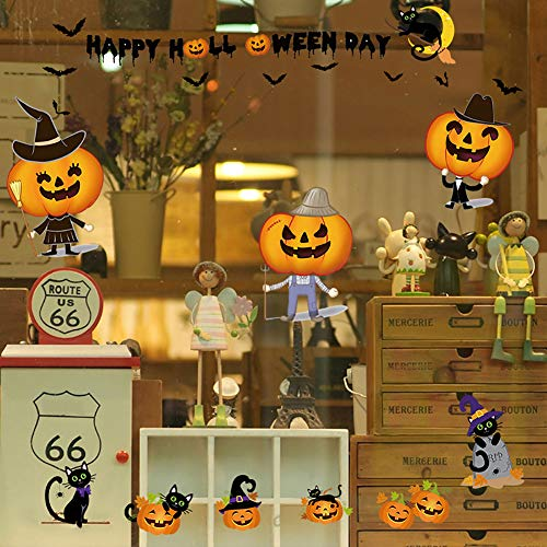 Wulidasheng Wall Stickers Decals, Happy Halloween Day Funny Pumpkin Model Wall Window Stick Decal Home Decor -