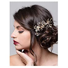 SWEETV Wedding Hair Comb Gold Rhinestone Flower Clip Bridal Hair Accessories for Bridesmaid Women