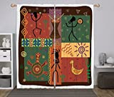 iPrint 2 Panel Set Window Drapes Kitchen Curtains,Primitive Funky Tribal Pattern Depicting African Style Dance Moves Instruments Spiritual Multicolor,for Bedroom Living Room Dorm Kitchen Cafe