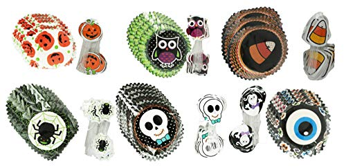 Set of 144 Halloween Cupcake Cups with Decorative Picks! Creepy Cupcake Cups Perfect for Halloween Parties and More! (144 Cups & 144 Picks) -
