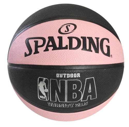Spalding NBA Varsity Outdoor Rubber Basketball - Black/Pink - Intermediate Size 6 (28.5