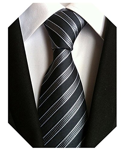 Wehug Men's Classic Tie Silk Gray Striped Woven Necktie Jacquard Neck Ties For Men ()