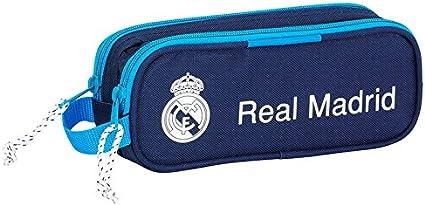Real Madrid-Estuche escolar doble cremallera, color azul marino Modelo insignia del Real Madrid.: Amazon.es: Oficina y papelería