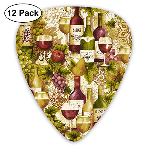 CNSHQL Vineyard Collection Wine Bottles Merlot 12-Pack Classic Colorful Guitar Picks -Plectrums for Electric Guitar, Acoustic Guitar, Mandolin, and ()