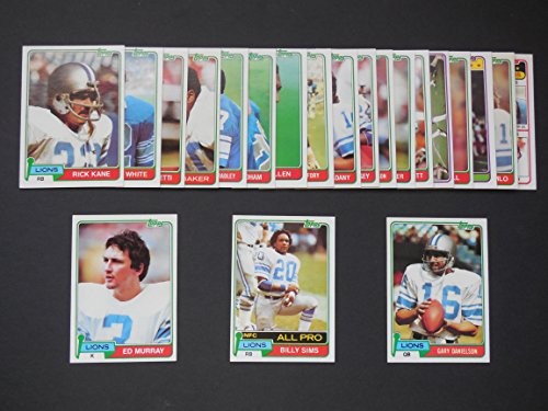 Detroit Lions 1981 Topps Football Team Set (21 Cards) (Billy Sims Rookie) Jim Allen, Al Baker, Al Baker Super Action, Luther Bradley, Dexter Bussey, Gary Danielson, Ken Fantetti, David Hill, James Hunter, Rick Kane, Jeff Komlo, Ed Murray, Ray Oldham, (Team Set Ken)