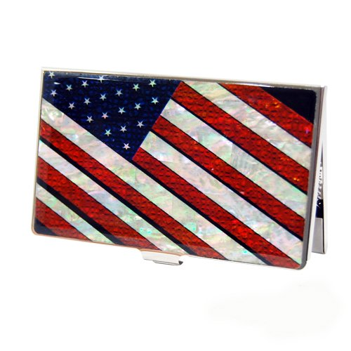 Mother of Pearl RFID Blocking Protection American Flag Stars and Stripes Star Spangled Banner Business Credit Name ID Card Holder Case Metal Stainless Steel Engraved Slim Purse Pocket Cash Money Wallet