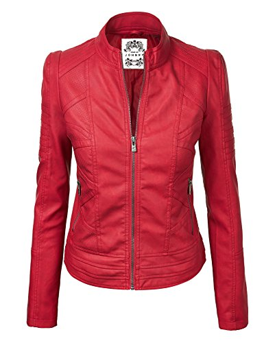 MBJ Womens Faux Leather Zip Up Moto Biker Jacket With Stitching Detail 510tjrPbuVL