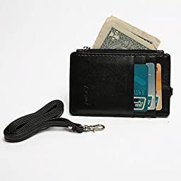 Artmi Womens RFID Blocking Business ID Badge Card Holder with Long Neck Strap Band Lanyard