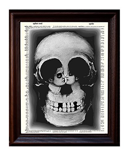 Skull and Lovers Illusion - Dictionary Art Print Printed On Authentic Vintage Dictionary Book Page - 8 x - Skull Illusion