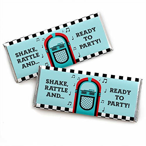 (50's Sock Hop - Candy Bar Wrapper 1950s Rock N Roll Party Favors - Set of)