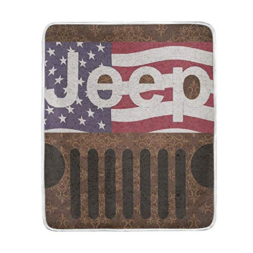 VIMMUCIR Throw Blanket, Jeep American Flag, Soft Warm Cozy Bed Couch Sofa Blankets for Kids Adults