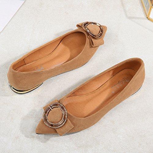 Marron Boucle Bas Mocassins 39 Chaussures Métallique Élégant Suédé Confort Loisir Plates 35 à JRenok Femmes Chaussures Talon Cuir Pointues TZnyx6UO