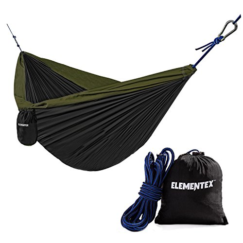 ELEMENTEX Portable Parachute Nylon Travel Camping Backpacking Hammock - Small Black & - Hammock Small