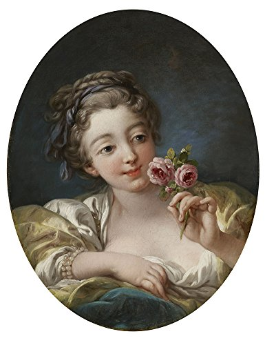 Oil Painting 'Francois Boucher (Workshop Of) - Girl With Roses, 1760s' 18 x 23 inch / 46 x 59 cm , on High Definition HD canvas prints is for Gifts And Bath Room, Game Room And Kitchen decor, decor