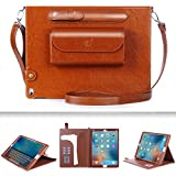 iPad Pro Case , FYY Luxurious Genuine Leather Case All-Powerful Cover for iPad Pro 12.9 inch Brown