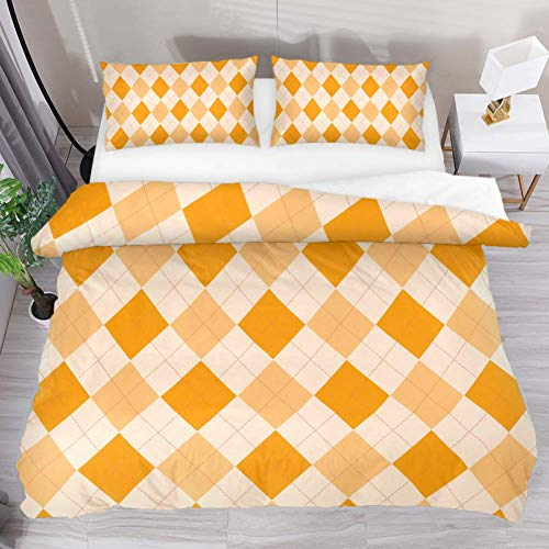 Josid Orange Argyle Pattern Duvet Cover Set,Comforter Cover 3 Pieces Bedding Set with Zipper Closure, 2 Pillow Shams 1 Duvet Cover,Bedspread for Childrens/Kids Full Size