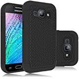 Samsung Galaxy J1 2016 Rugged Impact Heavy Duty Dual Layer Shock Proof Case Cover Skin - Black
