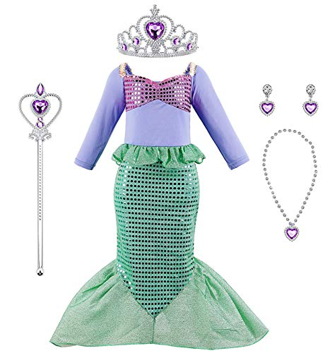 Mermaid Costume Dressfor Little Girl Princess Sequins Party Dress with Accessories -