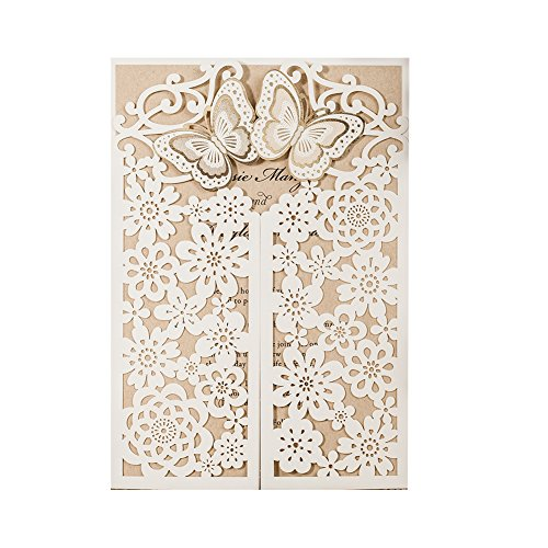 (WISHMADE 1 White 3D Laser Cut Wedding Invitations with Envelopes and RSVP Card, Butterfly Floral Gate Design Blank Invites for Dinner Party Bridal Shower Birthday CW7085W)