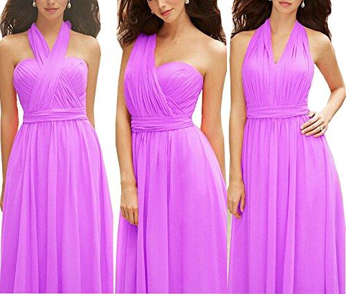 Women's Convertible Wrap Multi Way Long Maxi Bridesmaid Evening Dresses (Lilac,10)