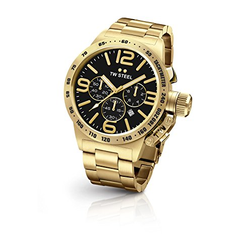 Mens Steel Gold Black Dial (TW Steel CB94 Men's Stainless Steel Canteen Gold Bracelet Black Dial Watch)