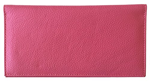 Hot Pink Basic Leather Checkbook Cover