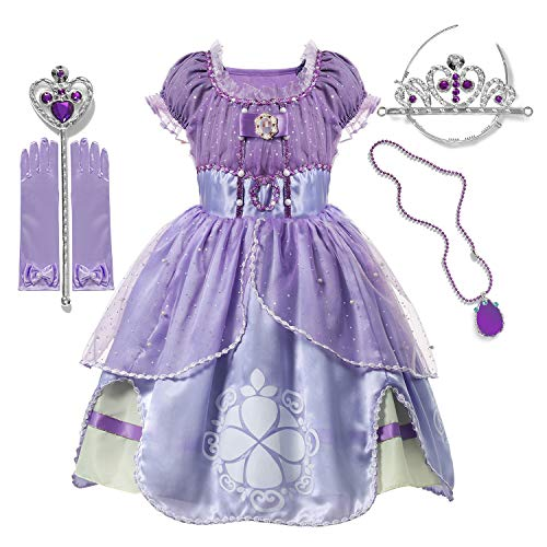 Little Girls Princess Costume Purple Dress Up for Halloween Cosplay Party (02 Purple, 3-4 Years)