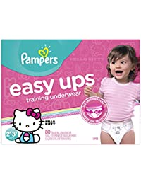 Easy Ups Training Pants Pull On Disposable Diapers for Girls Size 4 (2T-3T), 80 Count, SUPER
