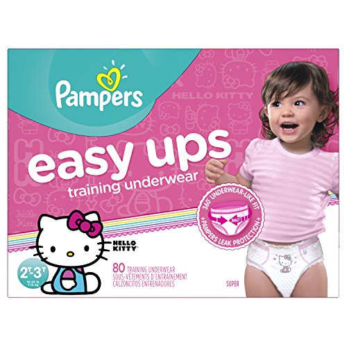 Pampers Easy Ups Pull On Disposable Training Diaper for Girls, Size 4 (2T-3T), Super Pack, 80 Count