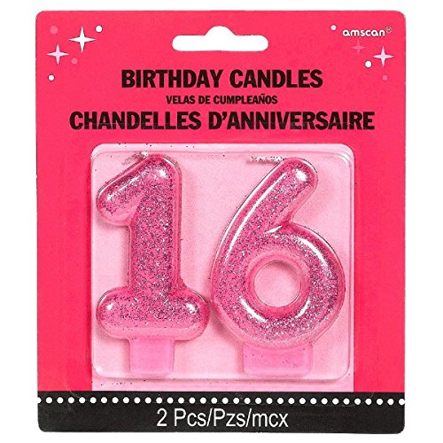 Chic Sweet Sixteen Celebration Molded Glitter Number 16 Birthday Candle Party Supply (2 Pack), Magenta, (Sweet 16 Balloons)