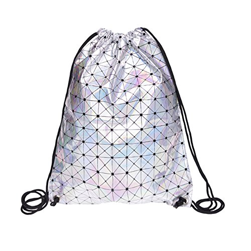 (PSFY Gym Sack Bag Drawstring Backpack Sport Bag School Travel Backpack Sackpack Shoulder Bags (Holo graphic triang))