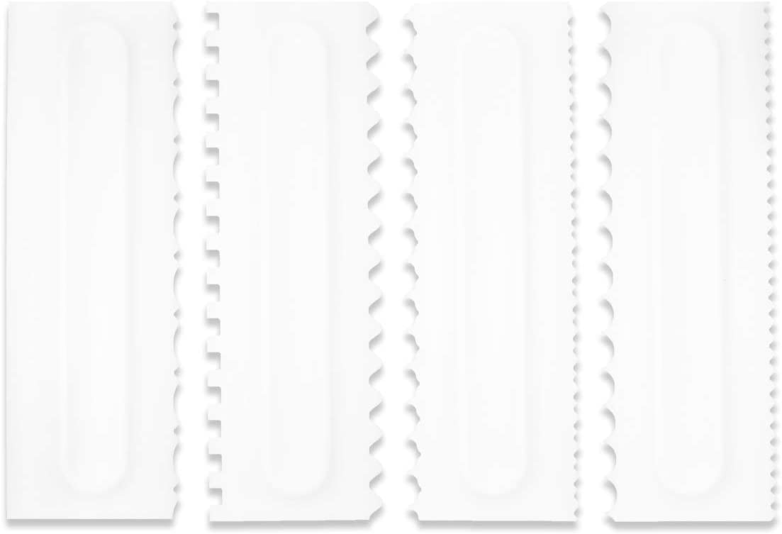 Cake Scraper Set Decorating Comb and Icing Smoother Tool Mousse Butter Cream Cake Edge DIY Tool Plastic Sawtooth Cake Scraper Icing Smoother Comb Set Kitchen Baking Tools Christmas Gift (4 Pack)