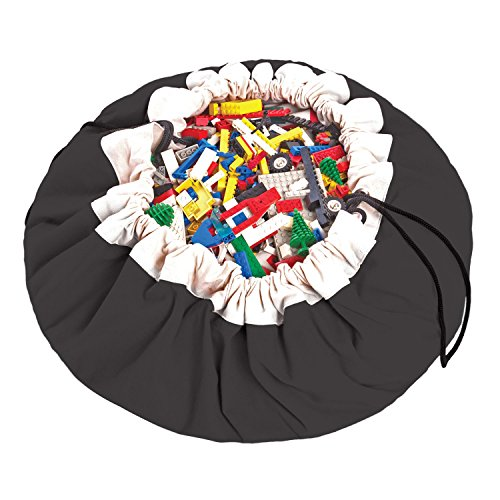 Play Mat and Toy Storage Bag - Durable Floor Activity Organizer Mat - Large Drawstring Portable Container for Kids Toys, Books - 55, Black