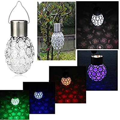 Rambling Hanging Solar Lights, Outdoor Waterproof Solar Rotatable Garden Camping Hanging Color Changing LED Round Ball Light Bulb-Industrial Rewind