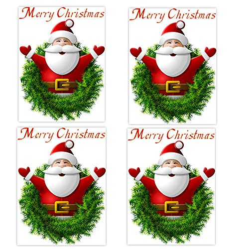 KATERT 4 Piece Christmas Windows Stickers Wall Stickers, 3D Santa Claus Merry Christmas Decoration Removable Wall Sticker Festive Children Decor Holiday Door Window Decoration (Big Decorating A Ideas For Wall)