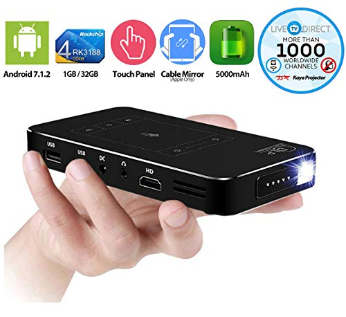 Mini Projector, LiveTV.Direct M8T Portable Projector Touch Panel Android Smart Mini Pocket Projector TV Slim Wireless Phone Projector Built-in Batteries with LiveTV.Direct Services (32GB)